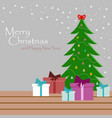 beautiful card with christmas tree toys vector image vector image