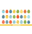 big set collection of cartoon doodle easter eggs vector image