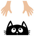 black cat head looking up to human hand cute vector image vector image