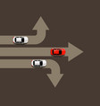 car moving in different directions leader concept vector image vector image