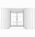 cargo container wire-frame style vector image