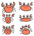 cartoon set of red crabs vector image