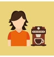 character girl cup coffee icon graphic vector image