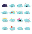 clouds cute emoji smily emoticons faces set vector image