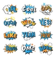 Collection of multi colored comic speech bubble vector image