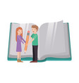 couple with text book and pencil avatar character vector image vector image