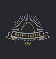 easter greeting card happy easter line egg vector image