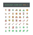 ecology icon set with filled outline style design vector image vector image