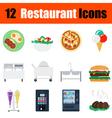 Flat design restaurant icon set vector image vector image