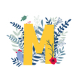 floral alphabet letter m vector image vector image