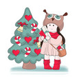 gifts for girl merry christmas color vector image vector image