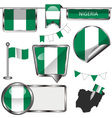 Glossy icons with Nigerian flag vector image vector image