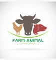 group of animal farm label cow pig chicken vector image
