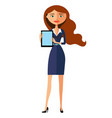 happy woman character with tablet pleasantly vector image