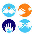 helpful and carrying hands vector image vector image