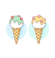 Icon white ice cream scoop in cones different vector image