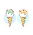 Icon white ice cream scoop in cones different vector image vector image