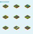 isometric way set of pedestrian down cracks and vector image vector image