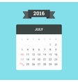 July 2016 Calendar vector image vector image