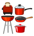 Kitchenware in red color vector image