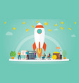 Launch startup business concept with rocket and