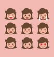 little girls emoticon set kawaii characters vector image vector image