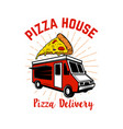 pizza delivery track design element for logo vector image vector image