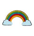 rainbow clouds color fairytale magic vector image