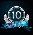 realistic ten years anniversary celebration design vector image vector image
