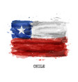 realistic watercolor painting flag chile vector image
