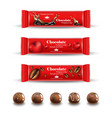 red chocolates truffles realistic product vector image vector image
