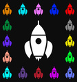 Rocket icon sign Lots of colorful symbols for your vector image
