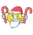 santa with candy cd player mascot cartoon vector image vector image