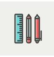 School supplies thin line icon vector image vector image