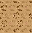 Seamless pattern with coffee mug on a brown