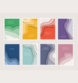 set 8 backgrounds with colorful paper cut vector image vector image