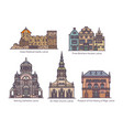 set isolated latvia or latvian architecture vector image vector image