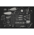 set of hand drawn doodle food on chalkboard vector image vector image