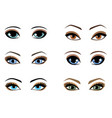 set woman eyes different colors vector image