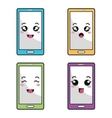smartphone phone character icon vector image