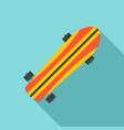 Striped skateboard icon flat style