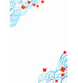 traditional fish with ocean wave watercolor vector image vector image