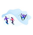 winter sports activity and spare time young men vector image vector image