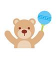 baby shower teddy boy rattler toy animal vector image