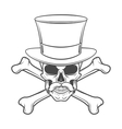 Outlaw skull with mustache high hat and vector image