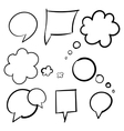 Cloud bubbles thought hand drawn black set of vector image
