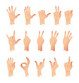 set of hands in different gestures emotions vector image