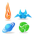 set of abstract symbols sphere flame green vector image