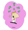 happy businessman jumping vector image