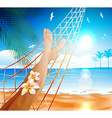 Woman Lying in a Hammock on the Beach vector image